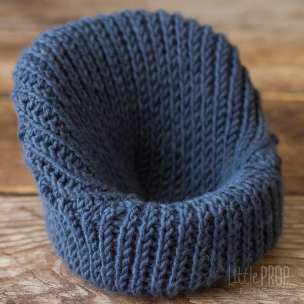 Denim Hand Knitted Cover Newborn Photography Prop