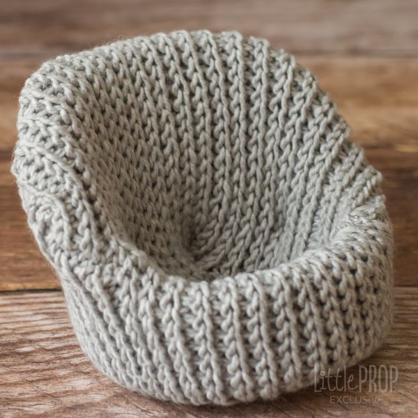 Light Gray Hand Knitted Cover Newborn Photography Prop