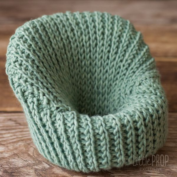 Teal Hand Knitted Cover Photography Prop