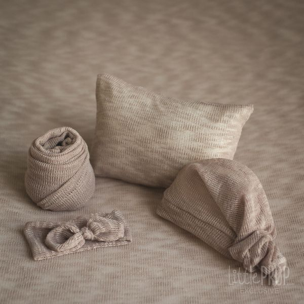 Backdrop Set Knitted light Brown Newborn Photography Prop