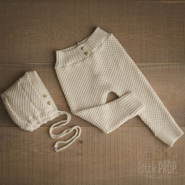 Knitted Ivory Pants & Hat Children Photography